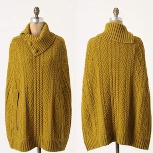 Anthropologie Cable Knit Cocoon Poncho